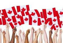 Hands holding Canadian flags