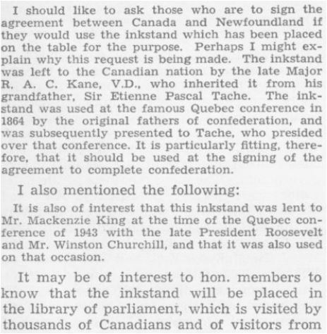 The Rt. Hon. Louis St-Laurent, Debates of the House of Commons, 7 February, 1949: http://parl.canadiana.ca/view/oop.debates_HOC2005_01/288