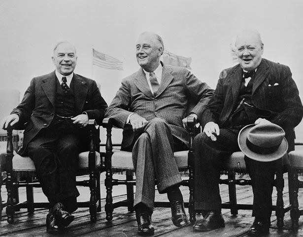 Rt. Hon. Mackenzie King, President Franklin D. Roosevelt and Rt. Hon. Winston Churchill at the Quebec Conference Montreal Gazette / Library and Archives Canada / MIKAN no. 3194622:  http://data2.archives.ca/ap/c/c014168.jpg
