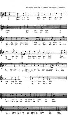 National Anthem Act: O Canada, sheet music with lyrics