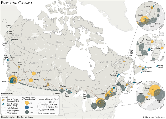 Map of Canada showing points of entry in the country by modes of transportation (water, land, highways, railways, air). Copyright: Library of Parliament