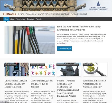 Image of the landing page of the Library of Parliament's research blog, HillNotes.ca