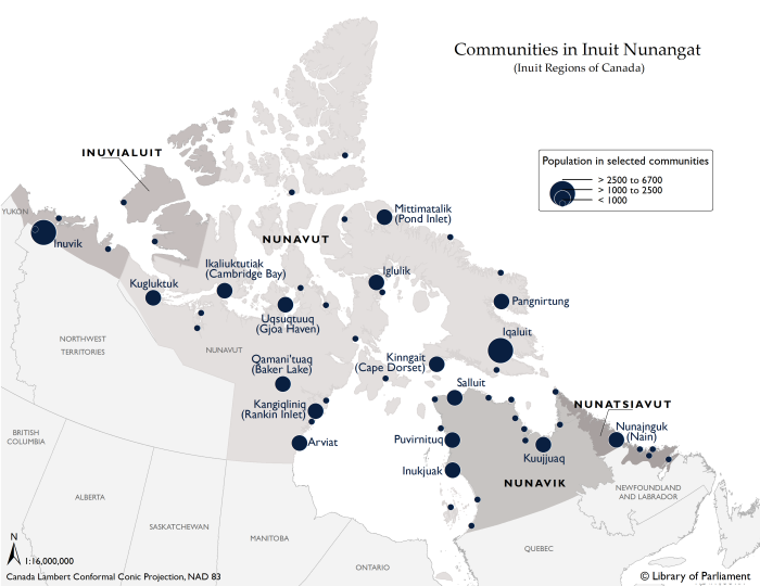"Sources: Map prepared by Library of Parliament, Ottawa, 2016, using data from Inuit Tapiriit Kanatami. Inuit Nunagaat Simplified. Scale not given. ""Maps of Inuit Nunangat (Inuit Regions of Canada)"". (Accessed December 12, 2016); Indigenous and Northern Affairs Canada (INAC). Inuit Communities Location. Gatineau, Quebec: INAC, 2016. Statistics Canada. Boundary Files, 2011 Census, Catalogue no. 92-160-X. The following software was used: Esri, ArcGIS, version 10.3.1. Contains information licensed under Statistics Canada Open License Agreement and Open Government Licence - Canada."